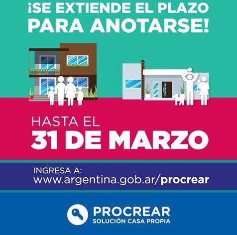 Procrear prorrogan hasta el 31 de marzo la inscripci n for Procrear inscripcion