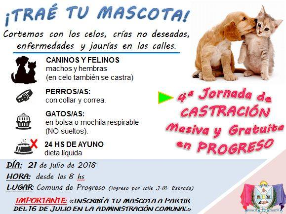 COMUNA DE PROGRESO: 4º Jornada de Castración Masiva y Gratuita de perros y gatos